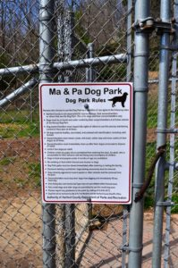 Sign for M and P dog park